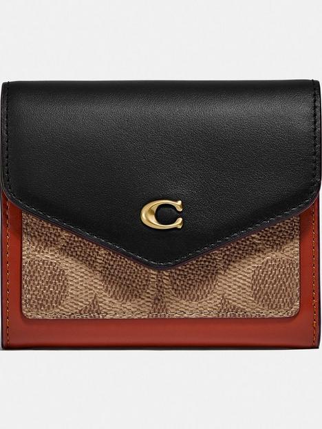 coach-wyn-colourblock-coated-canvas-signature-small-purse-tanblack
