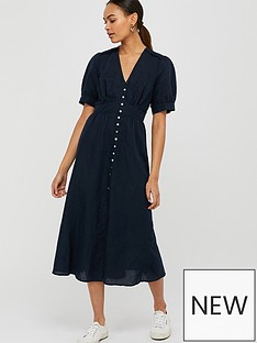 monsoon-organic-cotton-linen-dress-navy