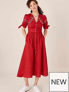 monsoon-floral-embroidered-linen-dolly-dress-red