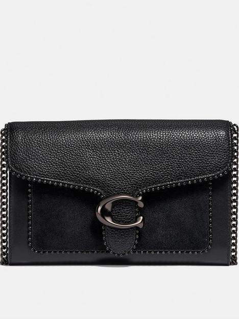 coach-tabby-mixed-leather-beadchain-clutch-bag-black
