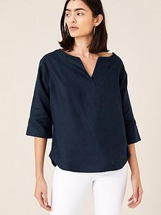 monsoon-daisy-linen-tee-navy