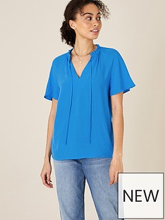 monsoon-gathered-neck-short-sleeve-top-blue