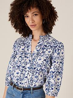 monsoon-francine-pin-tuck-detail-print-blouse-blue