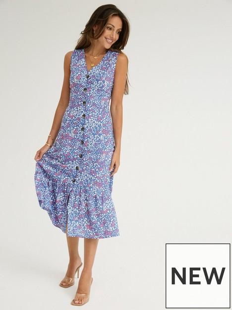 michelle-keegan-button-through-casual-midi-dress-blue-print