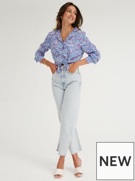 michelle-keegan-printed-button-through-shirt-bluenbspprint