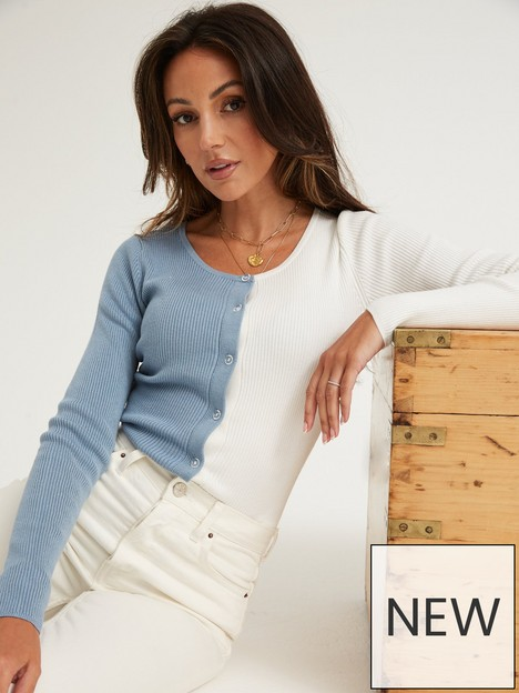 michelle-keegan-colour-block-knitted-cardigan-bluewhite