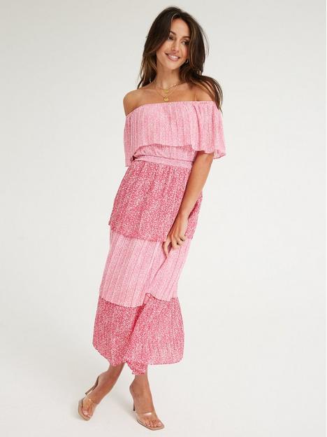 michelle-keegan-pleated-bardot-midi-dress-print