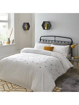 Bee Embroidered Duvet Cover Set