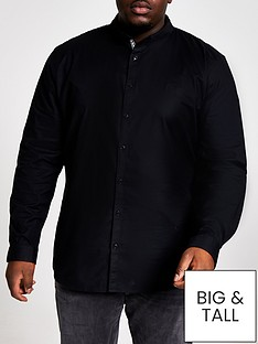 river-island-big-and-tallnbsplong-sleeve-oxford-shirt-black