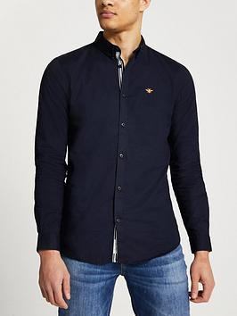 River Island Embroidered  Long Sleeve Muscle Fit Oxford Shirt - Navy, Navy, Size Xs, Men