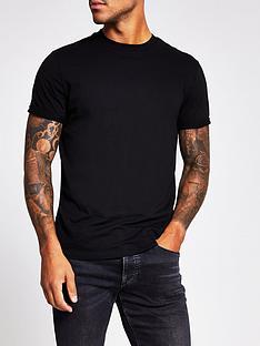 river-island-short-sleeve-slim-fitnbsproller-t-shirt-black