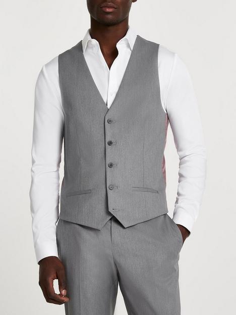 river-island-twill-suit-waistcoat-grey