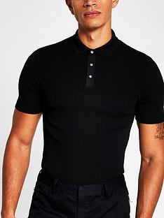 river-island-rib-knitted-muscle-fit-polo-shirt-black