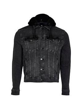 River Island Big & Tall Hooded Denim Jacket - Black, Washed Black, Size 4Xl, Men