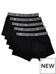 river-island-foil-river-monogram-5-pack-trunk-black