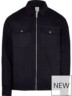 river-island-long-sleeve-twill-zip-throughnbspovershirt-navy