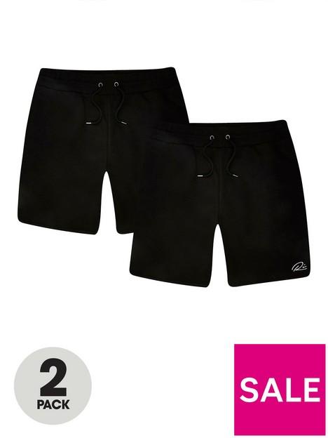 river-island-2-pack-rinbspscript-shorts-blacknbsp