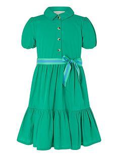 monsoon-girls-puff-sleeve-belted-shirt-dress-green