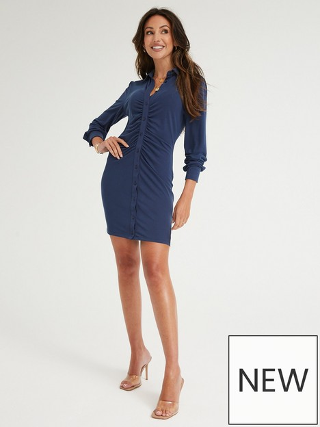 michelle-keegan-ruched-front-jersey-shirt-dress-navy