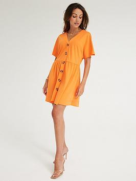 michelle-keegan-button-through-jersey-swing-dress-orange