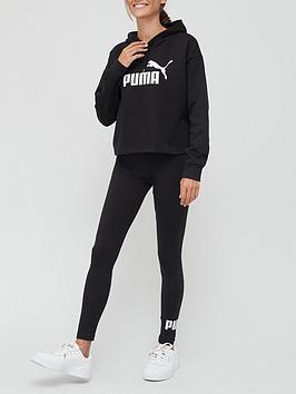 puma-essentialsnbspcropped-logonbsphoodie-ampnbspleggings-setnbsp--black