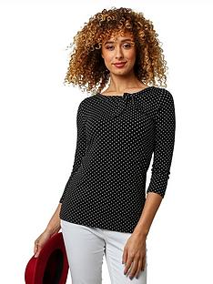 joe-browns-polka-dot-jersey-top-black