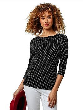 joe-browns-polka-dot-jersey-top-black