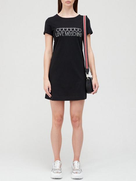 love-moschino-diamante-logonbspt-shirtnbspdress-black