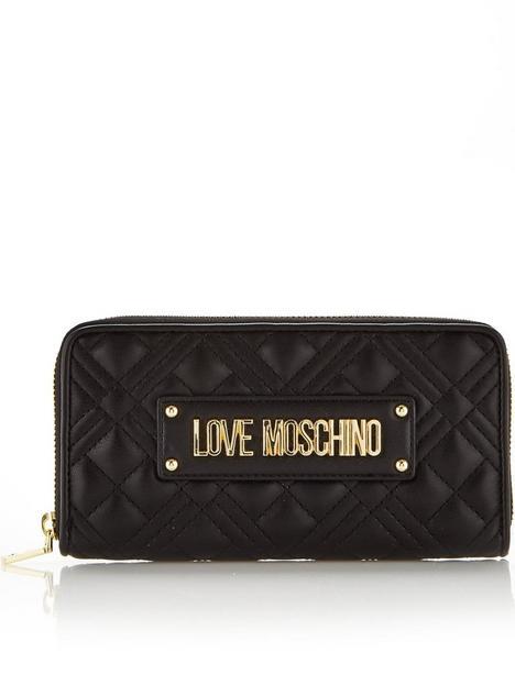 love-moschino-quilted-zip-around-purse-black