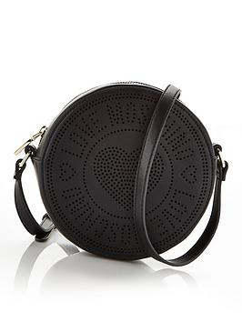 love-moschino-perforated-logo-round-cross-body-bag-black