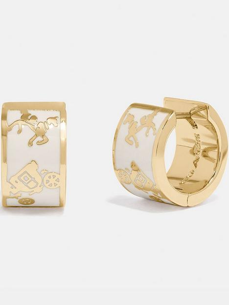 coach-horse-and-carriage-enamel-inlay-huggie-earrings-goldwhite
