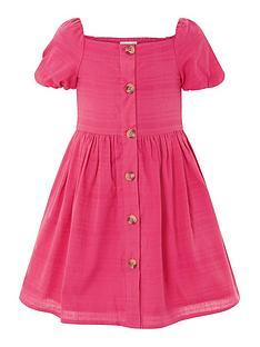 monsoon-girls-check-puff-sleeve-dress-bright-pink