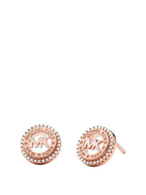 michael-kors-rose-tone-mk-logo-stud-earrings