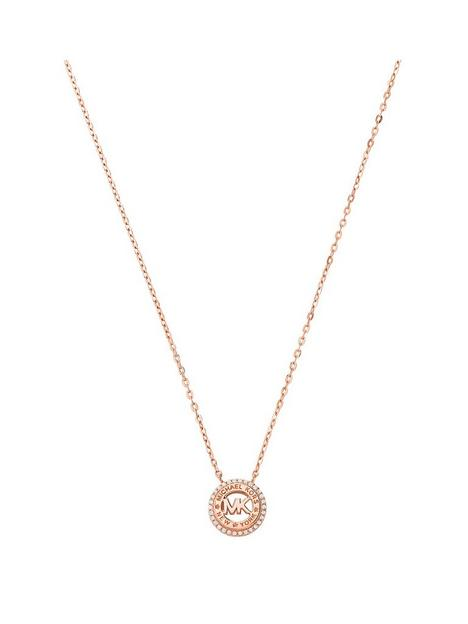 michael-kors-rose-tone-mk-logo-necklace