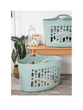 Wham Set 2 Large Flexi-Store Laundry Basket Silver Sage
