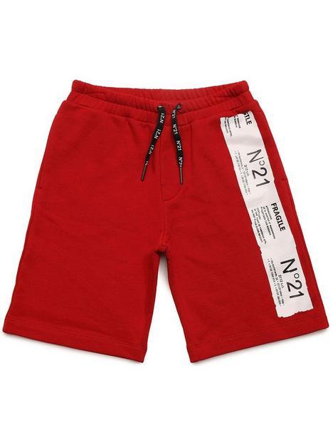 no-21-boys-tape-logo-shorts-red
