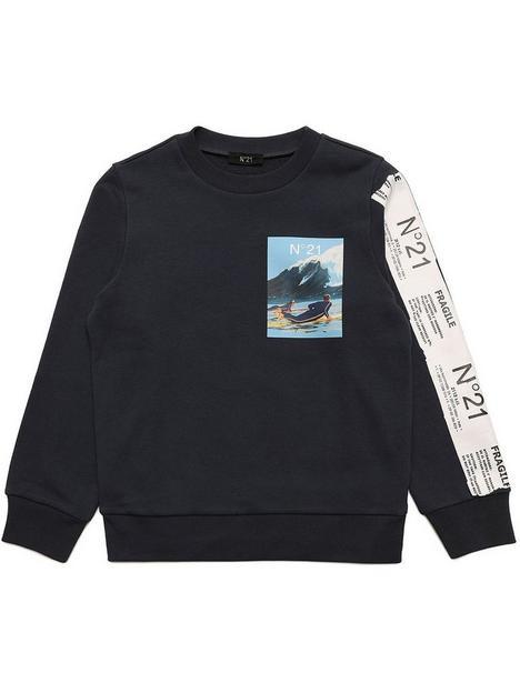 no-21-boys-tape-sleeve-sweatshirtnbsp--navy