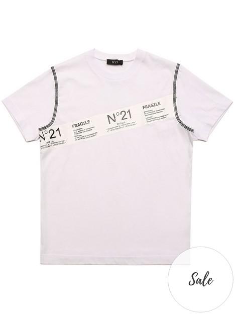 no-21-boys-diagonal-tape-tee-white