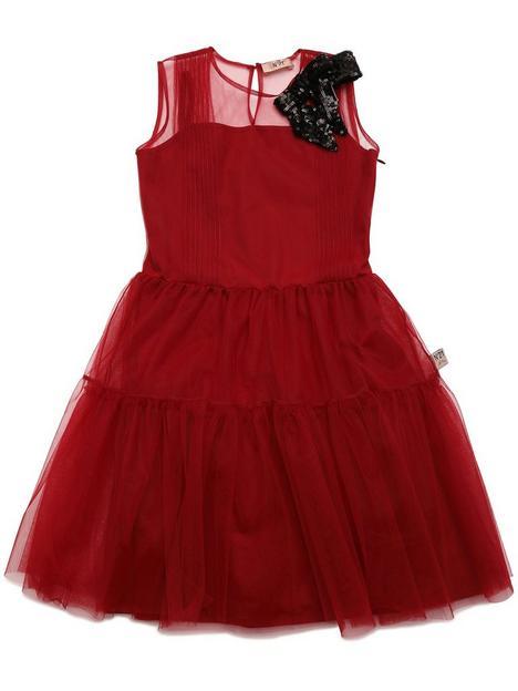 no-21-girls-mesh-dress-red