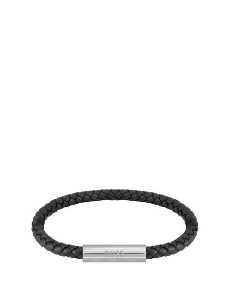 boss-braided-blacknbspleather-and-stainless-steel-gents-bracelet