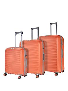 rock-luggage-sunwave-8-wheel-suitcases-3-piece-set-peach