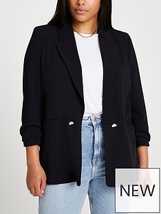 ri-plus-ruched-sleeve-blazer-black