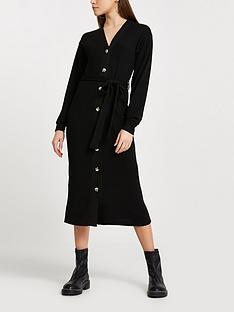 river-island-cosy-jersey-button-front-dress-black