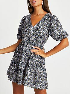 river-island-three-quarter-sleeve-v-neck-smock-mini-dressnbsp--floral