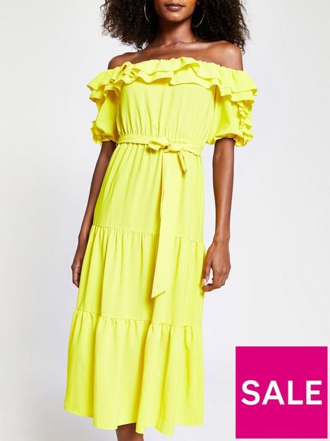 river-island-bardot-midi-dress-yellow