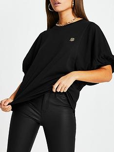 river-island-batwing-balloon-sleeve-top-black