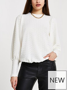 river-island-puff-sleeve-textured-jersey-top-cream
