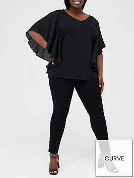 v-by-very-curve-chiffon-waterfall-sleeve-jersey-top-black