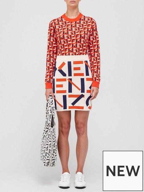 kenzo-monogram-knitted-skirt-beige