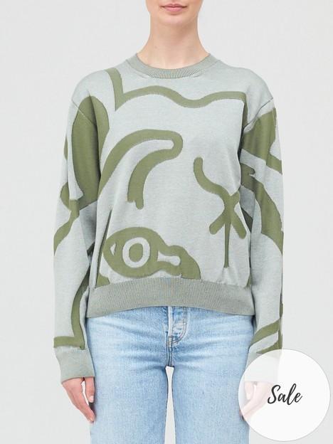 kenzo-oversized-tiger-print-jumper-green